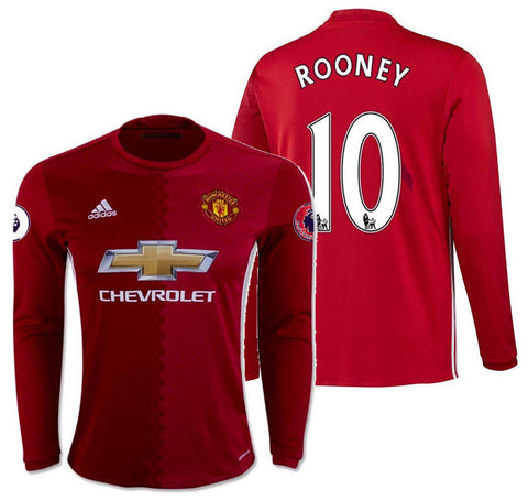 ADIDAS WAYNE ROONEY MANCHESTER UNITED LONG SLEEVE HOME JERSEY 2016/17