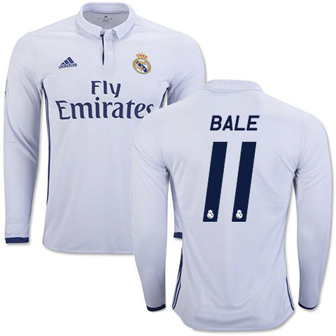 ADIDAS GARETH BALE REAL MADRID LONG SLEEVE HOME JERSEY 2016/17.