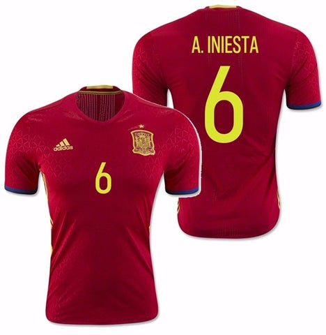 ADIDAS ANDRES INIESTA SPAIN EURO 2016 AUTHENTIC PLAYER HOME ADIZERO JERSEY Scarlet