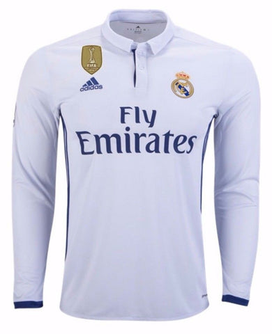ADIDAS REAL MADRID LONG SLEEVE HOME JERSEY 2016/17 FIFA PATCH.