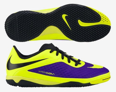 NIKE HYPERVENOM PHELON IC INDOOR SOCCER FUTSAL SHOES Electro Purple/Volt/Black