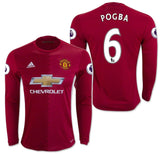 ADIDAS PAUL POGBA  MANCHESTER UNITED LONG SLEEVE HOME JERSEY 2016/17