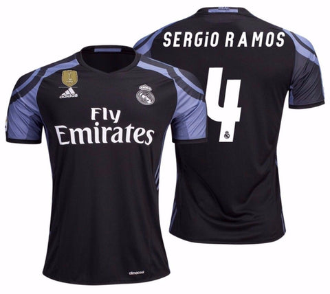 ADIDAS SERGIO RAMOS REAL MADRID FIFA PATCH THIRD JERSEY 2016/17.