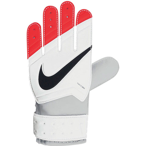 NIKE GK JUNIOR GRIP GOALKEEPER GLOVES YOUTH SIZES White/Total Crimson