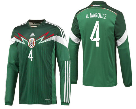 ADIDAS RAFAEL MARQUEZ MEXICO LONG SLEEVE HOME JERSEY FIFA WORLD CUP BRAZIL 2014.