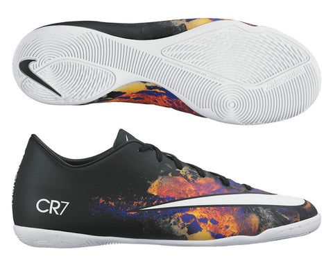 NIKE MERCURIAL VICTORY V CR IC INDOOR SOCCER CR7 SHOE Black/White/Total Crimson