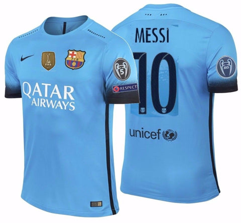 NIKE LIONEL MESSI FC BARCELONA AUTHENTIC MATCH UEFA CHAMPIONS LEAGUE THIRD JERSEY 2015/16.