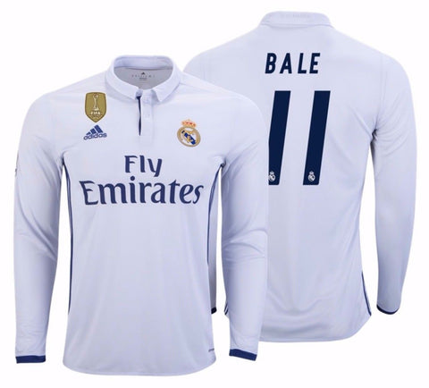 ADIDAS GARETH BALE REAL MADRID LONG SLEEVE HOME JERSEY 2016/17 FIFA PATCH.