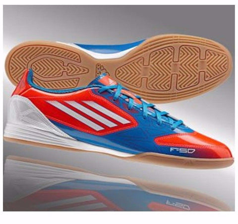 fe313377e ADIDAS F10 IN INDOOR SOCCER SHOES Infrared Running White Bright Blue ...
