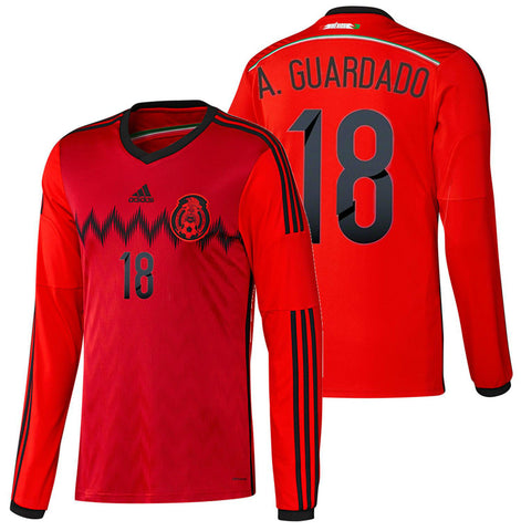 ADIDAS A. GUARDADO MEXICO LONG SLEEVE AWAY JERSEY FIFA WORLD CUP BRAZIL 2014.