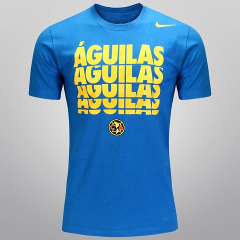 NIKE CLUB AMERICA AGUILAS SOCCER CORE TYPE T-SHIRT Blue.
