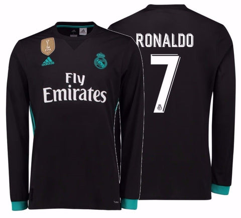 ADIDAS CRISTIANO RONALDO REAL MADRID LONG SLEEVE AWAY JERSEY 2017/18 FIFA PATCH.