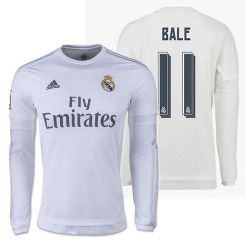 buy popular a0d7c 63fc8 ADIDAS GARETH BALE REAL MADRID LONG SLEEVE HOME JERSEY 2015/16