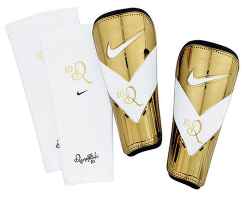 NIKE 10R TIEMPO RONALDINHO SOCCER FOOTBALL SHINGUARDS BARCELONA Gold/White.