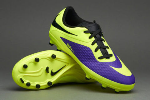 NIKE HYPERVENOM PHELON FG FIRM GROUND SOCCER SHOES Electro Purple/Volt.