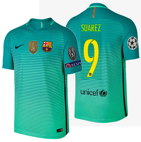 NIKE LUIS SUAREZ FC BARCELONA AUTHENTIC VAPOR MATCH UCL THIRD JERSEY 2016/17.