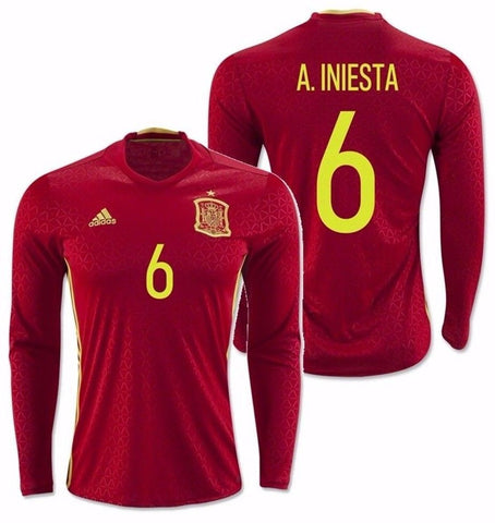 ADIDAS EURO 2016 A. INIESTA SPAIN LONG SLEEVE HOME JERSEY Scarlet/Bright Yellw