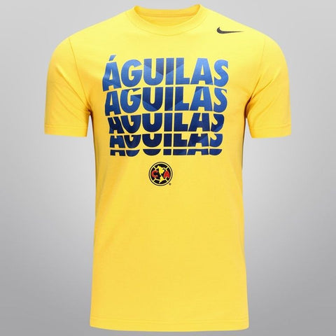 NIKE CLUB AMERICA AGUILAS SOCCER CORE TYPE T-SHIRT Yellow.