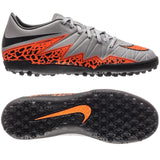 NIKE HYPERVENOM PHELON II TF TURF SOCCER SHOES Wolf Grey/Black/Total Orange.