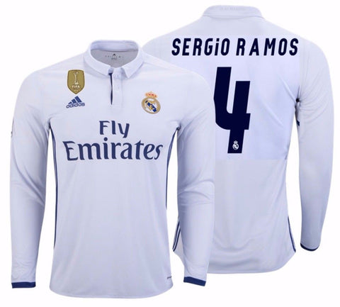 ADIDAS SERGIO RAMOS REAL MADRID LONG SLEEVE HOME JERSEY 2016/17 FIFA PATCH.