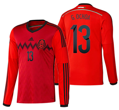 ADIDAS GUILLERMO OCHOA MEXICO LONG SLEEVE AWAY JERSEY FIFA WORLD CUP BRAZIL 2014.