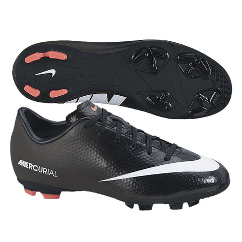 NIKE MERCURIAL VICTORY IV CR7 FG JR FIRM GROUND YOUTH SOCCER SHOES KIDS Black/White.