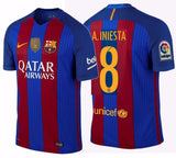 NIKE ANDRES INIESTA FC BARCELONA AUTHENTIC VAPOR MATCH HOME JERSEY 2016/17 QATAR