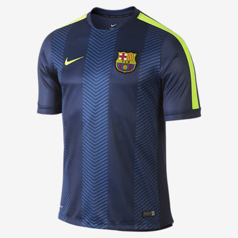 NIKE FC BARCELONA SQUAD PRE MATCH TOP FOOTBALL Loyal Blue/Volt/Volt