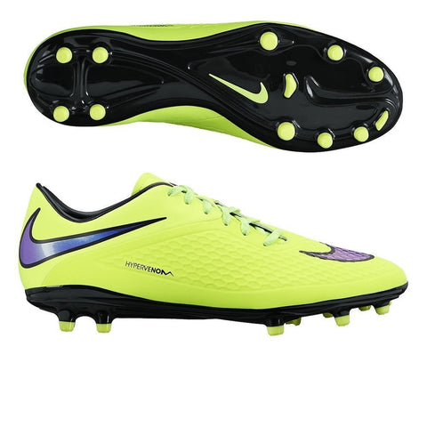 NIKE HYPERVENOM PHELON FG FIRM GROUND SOCCER SHOES Volt/Hot Lava/Persian Violet