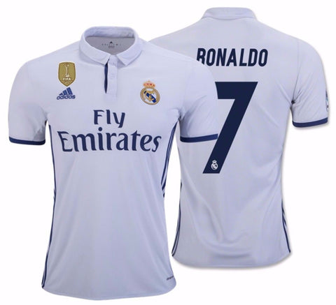 ADIDAS CRISTIANO RONALDO REAL MADRID FIFA PATCH HOME JERSEY 2016/17.
