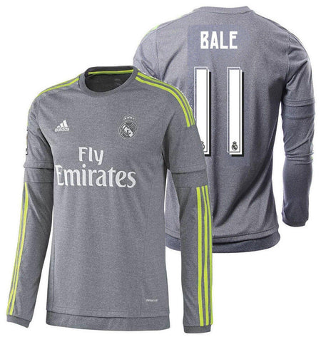 ADIDAS GARETH BALE REAL MADRID LONG SLEEVE AWAY JERSEY 2015/16