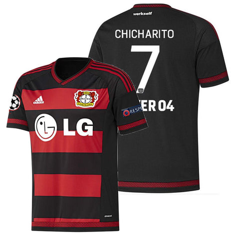 ADIDAS CHICHARITO BAYER LEVERKUSEN UEFA CHAMPIONS LEAGUE HOME JERSEY 2015/16