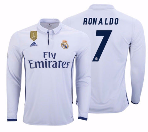 ADIDAS CRISTIANO RONALDO REAL MADRID LONG SLEEVE HOME JERSEY 2016/17 FIFA PATCH.