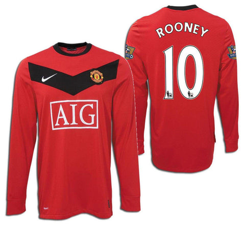 NIKE WAYNE ROONEY MANCHESTER UNITED LONG SLEEVE HOME JERSEY 2009/10.