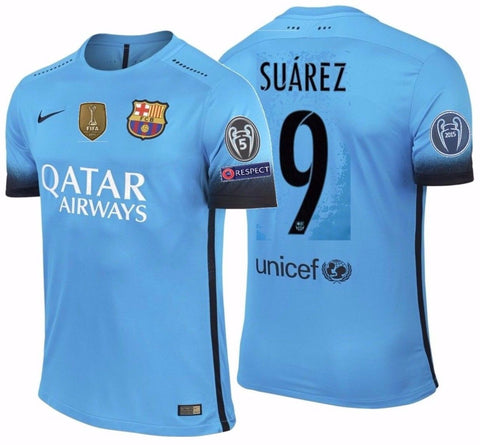 NIKE LUIS SUAREZ FC BARCELONA AUTHENTIC MATCH UEFA CHAMPIONS LEAGUE THIRD JERSEY 2015/16.