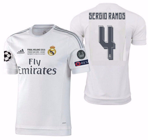 ADIDAS SERGIO RAMOS REAL MADRID AUTHENTIC FINAL UCL MATCH JERSEY 2015/16.