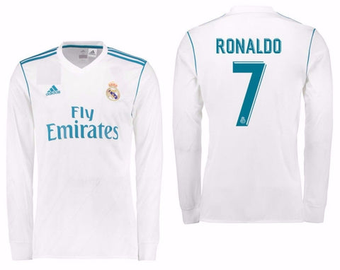 Adidas Ronaldo Real Madrid Long Sleeve Home Jersey 2017/18 B31106