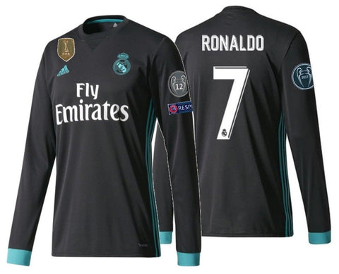 Adidas Ronaldo Real Madrid Long Sleeve UEFA Champions League Away Jersey 2017/18 B31088