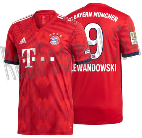 ADIDAS ROBERT LEWANDOWSKI BAYERN MUNICH HOME JERSEY 2018/19 BUNDESLIGA PATCH 1