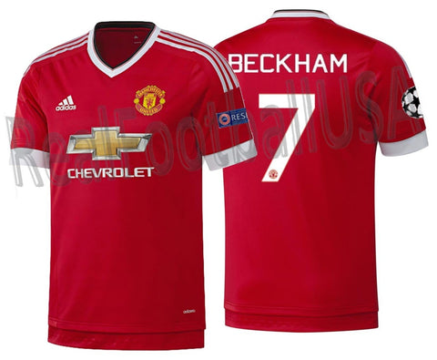 ADIDAS DAVID BECKHAM MANCHESTER UNITED AUTHENTIC UEFA CHAMPIONS LEAGUE ADIZERO HOME JERSEY 2015/16 1