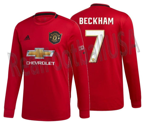 ADIDAS DAVID BECKHAM MANCHESTER UNITED LONG SLEEVE CUP HOME JERSEY 2019/20 1