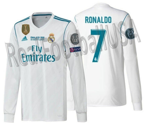 ADIDAS CRISTIANO RONALDO REAL MADRID UEFA CHAMPIONS LEAGUE FINAL 2018 LONG SLEEVE JERSEY 1
