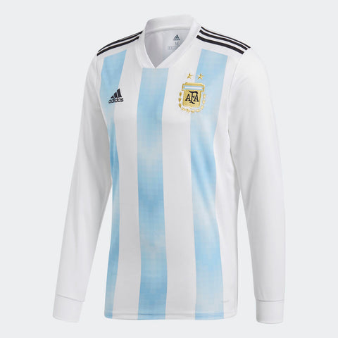more photos c6c2c ac6e5 ADIDAS LIONEL MESSI ARGENTINA LONG SLEEVE HOME JERSEY WORLD CUP 2018 FIFA  PATCHES.