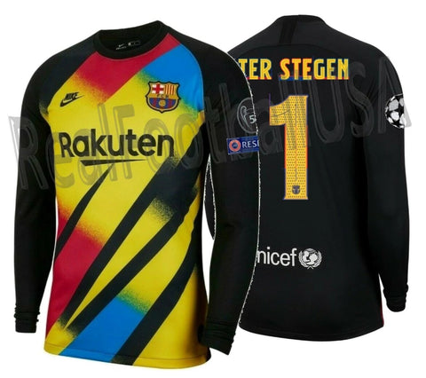 NIKE TER STEGEN FC BARCELONA UEFA CHAMPIONS LEAGUE GOALKEEPER JERSEY 2019/20 PATCHES 1