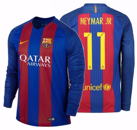 NIKE NEYMAR JR. FC BARCELONA LONG SLEEVE HOME JERSEY 2016/17 QATAR 1