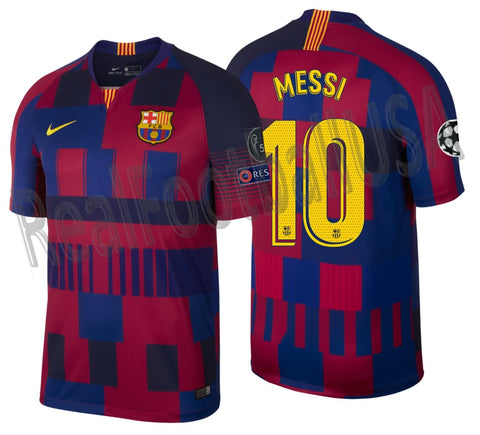 outlet store d5a8e 11a10 NIKE LIONEL MESSI FC BARCELONA 20TH ANNIVERSARY MASHUP UEFA CHAMPIONS  LEAGUE HOME JERSEY 1999 -2019.
