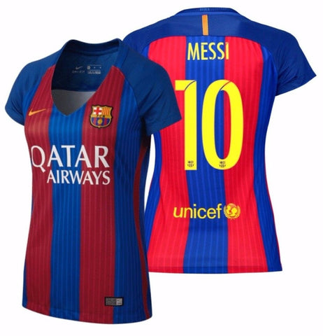 NIKE LIONEL MESSI FC BARCELONA WOMEN'S HOME JERSEY 2016/17 QATAR.