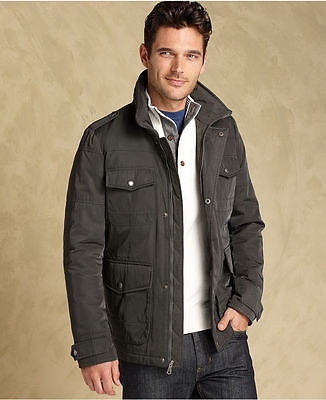 TOMMY HILFIGER FOUR-POCKET FIELD JACKET MEN'S CHARCOAL.