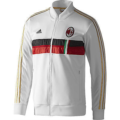 ADIDAS AC MILAN ANTHEM JACKET 2013/14 CALCIO ITALY WHITE.