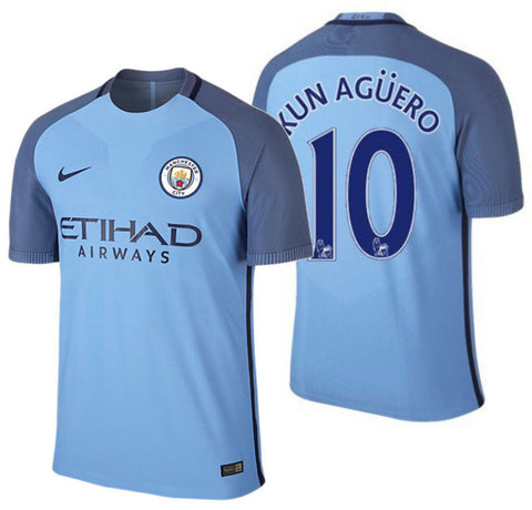 NIKE KUN AGUERO MANCHESTER CITY AUTHENTIC VAPOR MATCH HOME JERSEY 2016/17.